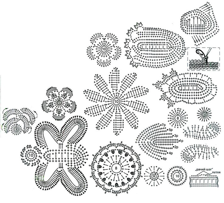 crochet flower and leaf motif diagrams