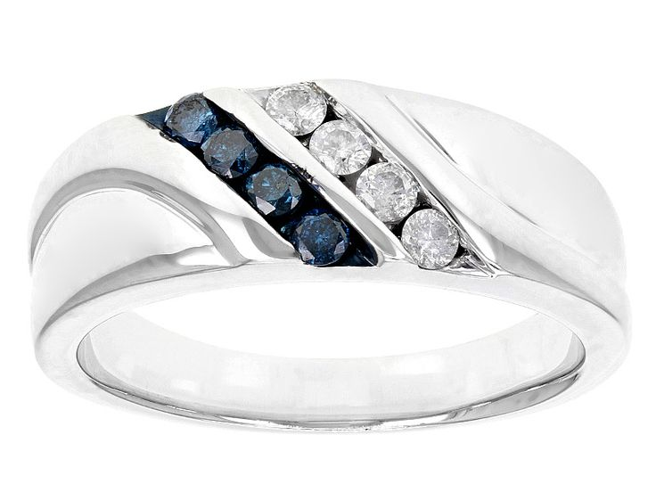 Blue Velvet Diamond(Tm) .36ctw Round Blue And White Diamond Rhodium Over Sterling Silver Gents Ring