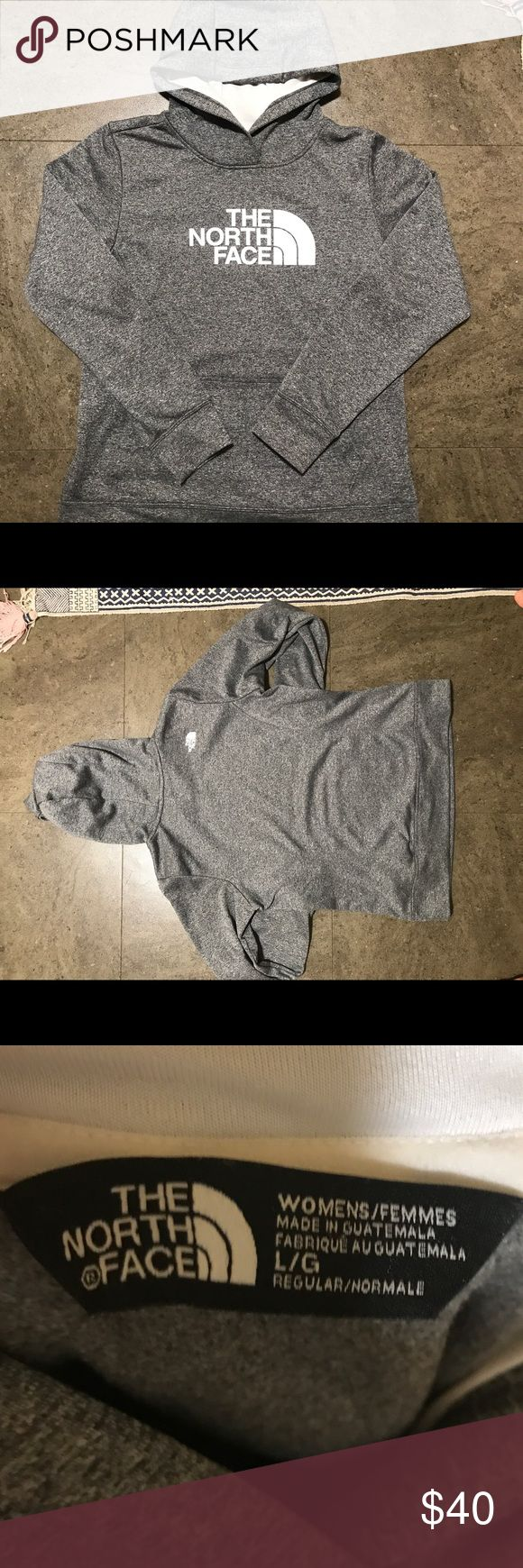Grey north face hoodie Grey women's north face hoodie. Size large but fits like a small/medium. Great condition. North Face Tops Sweatshirts & Hoodies