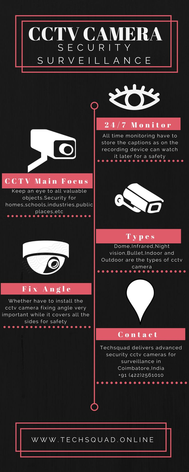 Techsquad delivers the advanced and highly secured CCTV Camera for homes, schools, offices and industries. It consists of high-resolution cameras with Noise reduction technology for better surveillance. Our goal is to provide the advanced level of security to all your domestic and industrial purposes. Whatever your need in Security Camera whether it be for your home, for schools or offices we deliver it with a high-end security system that matches all your needs in assuring safety to your…