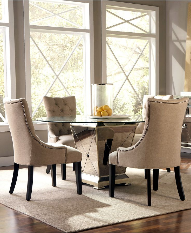 Marais dining room furniture 5 piece set 60 mirrored for Dining room table 60 x 36