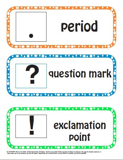 KINDER & 1ST GRADE PUNCTUATION  This 16-page reproducible punctuation packet from Fun To Teach contains the 3 ending punctuation marks Kindergartens need to recognize and name. Students love to learn about these punctuation marks and symbols with the activities and games in this package. Each of the 3 punctuation marks that end sentences, periods, question marks and exclamation points are printed on an individual cards picture and word cards.  This game package meets the common core…