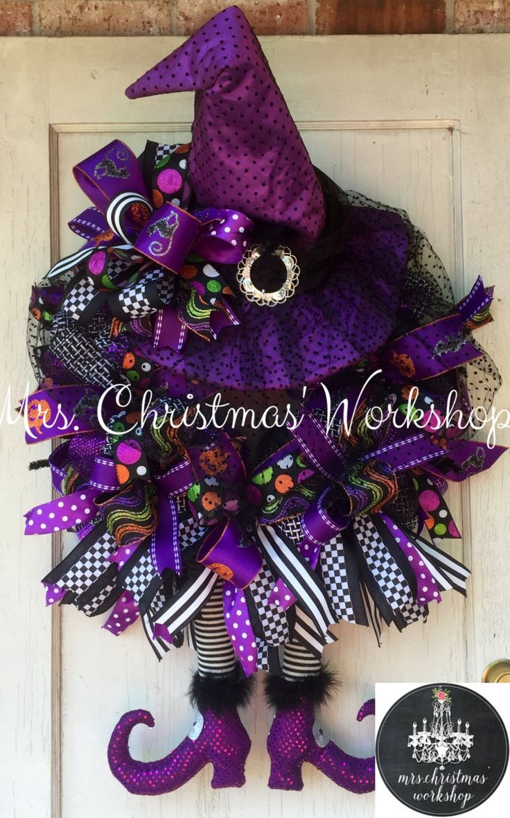 Halloween wreath witch wreath deco mesh wreath witch wreath fall wreath by MrsChristmasWorkshop on Etsy https://www.etsy.com/listing/290296279/halloween-wreath-witch-wreath-deco-mesh