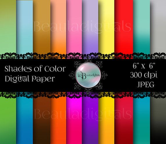 Shades of Color Digital Papers  Gradient Rainbow by Beauladigitals