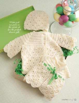 girls-crochet-set-pattern-for-baby. Click on pattern 1,2,3 located immediately below the picture for the free patterns