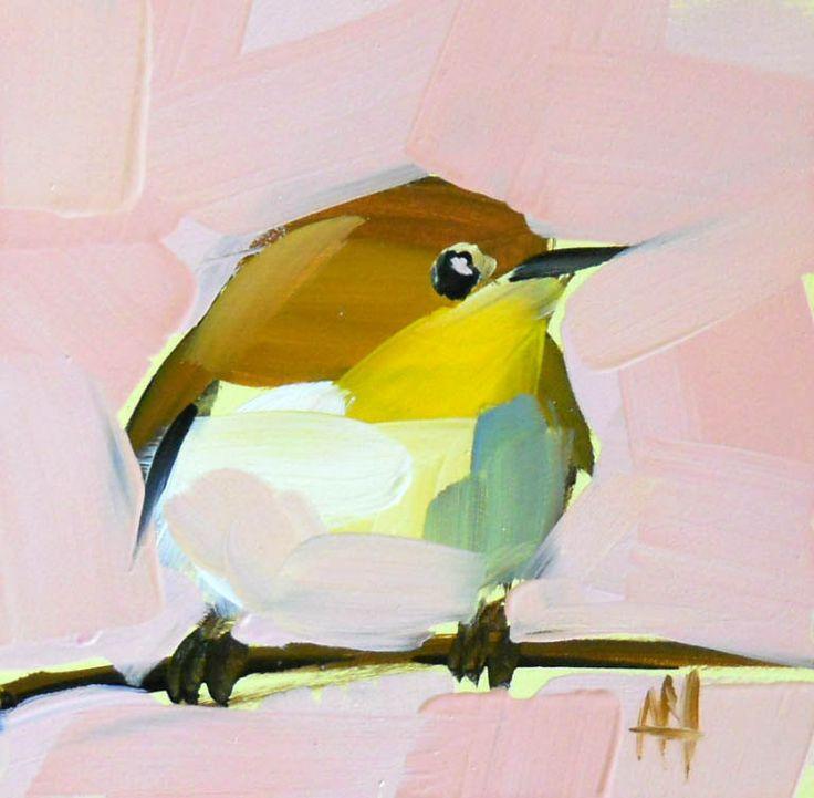 vireo bird no. 3 original bird oil painting by moulton 4 x 4 inches prattcreekart