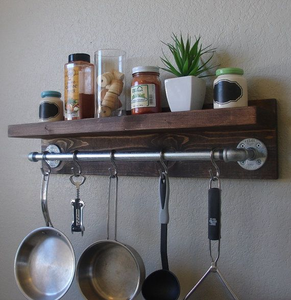 "Industrial Rustic Kitchen Wall Shelf Spice Rack with 24"" Pot Rack Bar and 5 S Hooks on Etsy, $125.00"