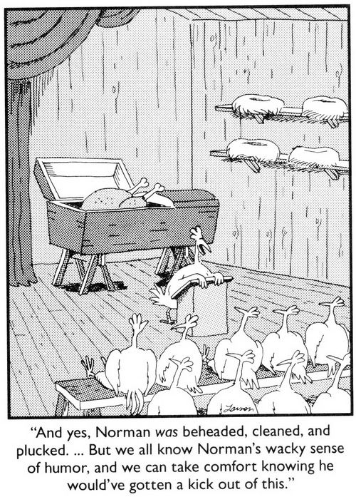 """The Far Side"" by Gary Larson Chicken funeral LOL"