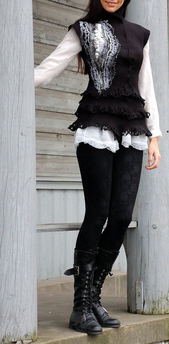 "Felt vest ""Black and white"", felted vest, beautiful vest, elegant vest, black…"
