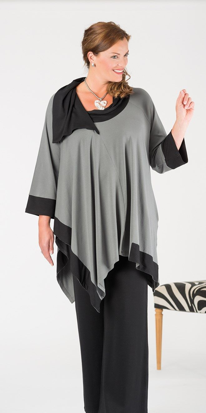 Kasbah dark grey/black jersey two tone top at Box 2