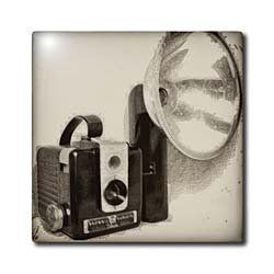 "Picture of a Vintage 1950s camera with bulb flash - 4 Inch Ceramic Tile by Kike Calvo. $11.99. High gloss finish. Clean with mild detergent. Dimensions: 4"" H x 4"" W x 1/4"" D. Construction grade. Floor installation not recommended.. Image applied to the top surface. Picture of a Vintage 1950s camera with bulb flash Tile is great for a backsplash, countertop or as an accent. This commercial quality construction grade tile has a high gloss finish. The image is applied to the top su..."