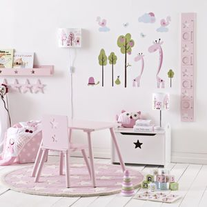 Girl's Pink Height Chart With Picture Frames - children's room