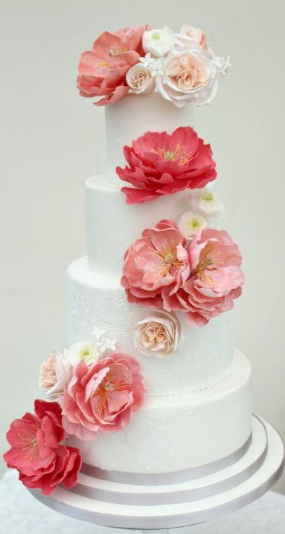 Corals and Peaches Wedding Cake