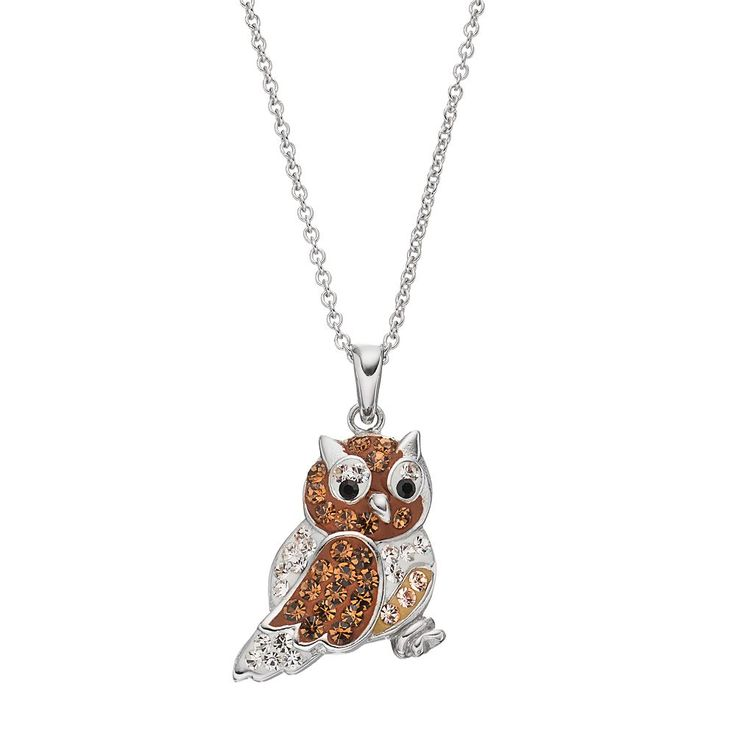 Crystal Owl Pendant Necklace, Women's, Brown