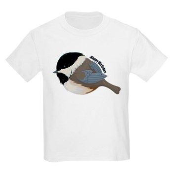'Happy Birthday' Kid's Light Bird T-Shirt from cafepress store: AG Painted Brush T-Shirts. #chickadee #kids #birthday