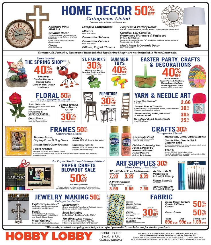 Hobby Lobby Weekly Ad March 12 - 18, 2017 - http://www.olcatalog.com/grocery/hobby-lobby-weekly-ad.html