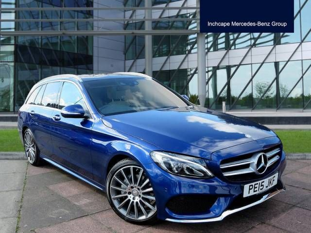 Mercedes-Benz C Class 2.1 C220 BlueTEC AMG Line Premium Plus 5dr Auto Estate Diesel Brilliant Blue Metallic