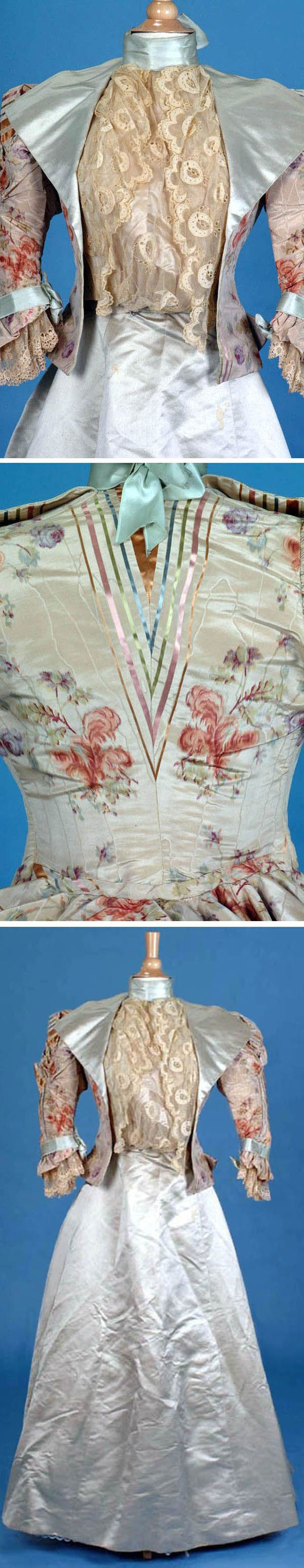 Visiting gown, A.G. McClean, Boston, ca. 1896. Silk moiré jacquard in floral pattern, with woven satin multicolored stripes. Collar has bib insertion of applied machine lace over ivory satin. Ribbon trim on sleeves; rose point lace on cuffs. Full sleeveheads that are pleated and ruched in front. Boned bodice, slightly trained skirt, which is stiffened with horsehair fabric. Trousseau.net via The Wayback Machine