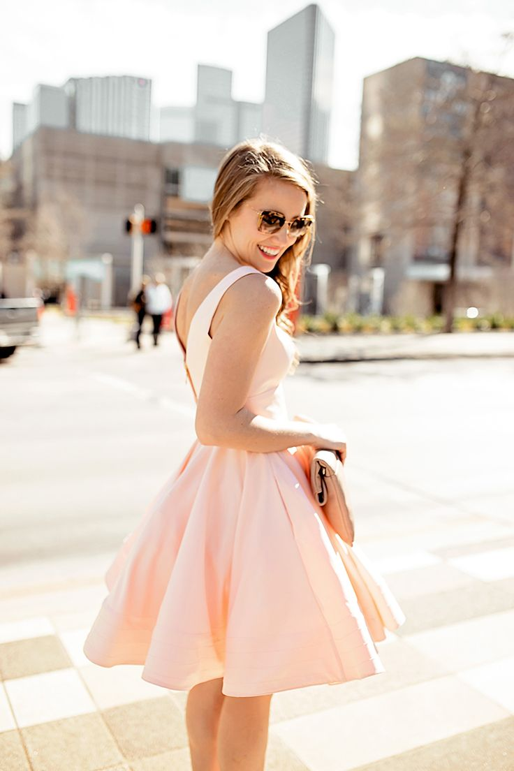 DRESS   pink flouncy cocktail dress (also available in black)   |   SHOES   christian loubatin 'simple' pumps   |   SUNNIES   miu miu 52qs sunglasses   |   CLUTCH   oversized nude clutch (old, similar linked)   |   LIP COLOR   pink nouveau   |   EARRINGS    pearl…
