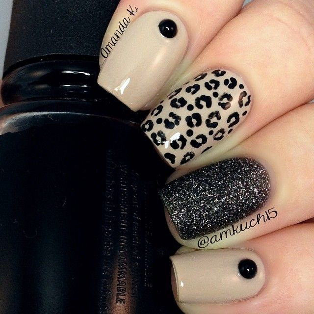 "Leopard mix & match. Essie ""Sand Tropez"" with Nicole by OPI ""A-Nise Treat"""