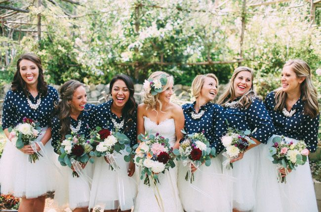 Bridesmaids in tulle skirts + polka dot tops<3