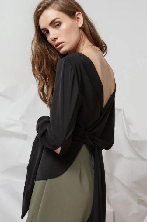 Finders Keepers - I Spy Tie Back Long Sleeve Top Black
