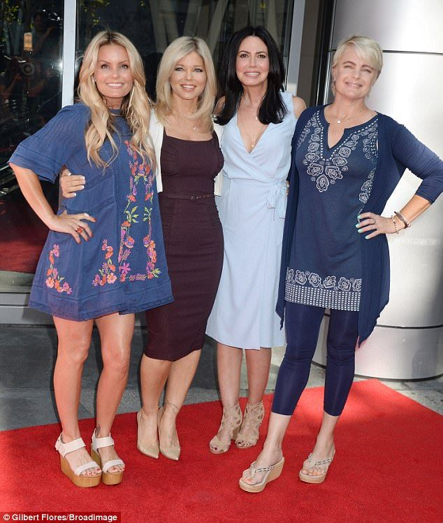 Reunited: Baywatch babes (from left) Kelly Packard, Donna D'Errico, Nancy Valen and Erika Eleniak reunited at the the first ever Baywatch SloMo Marathon on Saturday in Los Angeles