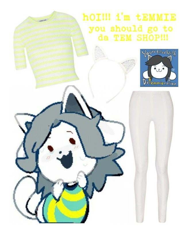 """""""Undertale - Temmie"""" by missolivetree ❤ liked on Polyvore featuring Elizabeth and James, Donna Karan and Maison Michel"""