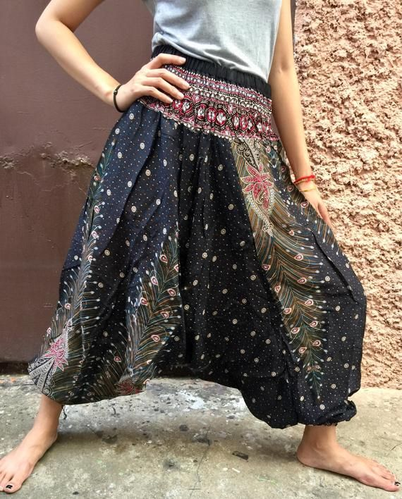 5618ca43fa694 Boho Hippie Festival Harem Aladdin Pants Drop Crotch Plus size Pants  Clothing Baggy Jumpsuits gypsy Bohemian Style Vegan Gift for men women