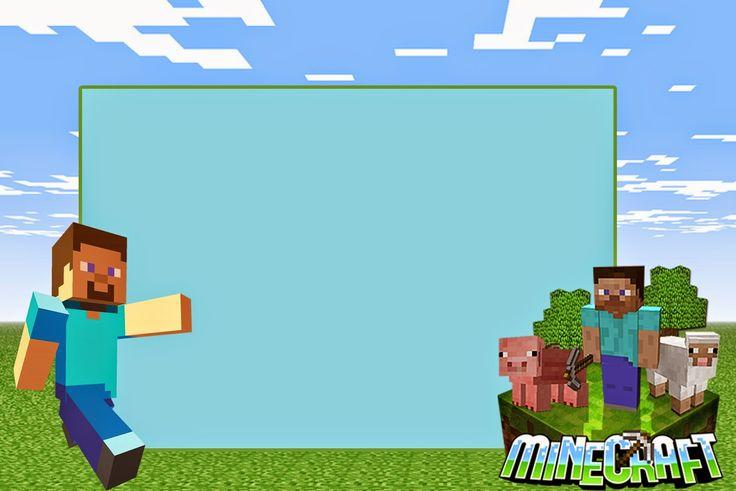 1.- Lo primero son las invitaciones de Minecraft, y como en cada artículo, te muestro unas únicas y totalmente en blanco del tamaño perfecto para impresión (DA CLICK PARA VER EN GRANDE):
