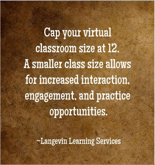 12 learners max in a #virtualclassroom session.
