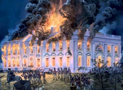 During the War of 1812, British troops burned the White House in retaliation for the American attack on York in Ontario, Canada. It marks the only time in U.S. history that our capital was occupied by a foreign force. When the British arrived at the White House, President James Madison & first lady Dolley had already fled to safety in MD. British troops sat down to eat a meal before ransacking the presidential mansion & setting it ablaze. Sudden heavy rains the next day put out the fires.