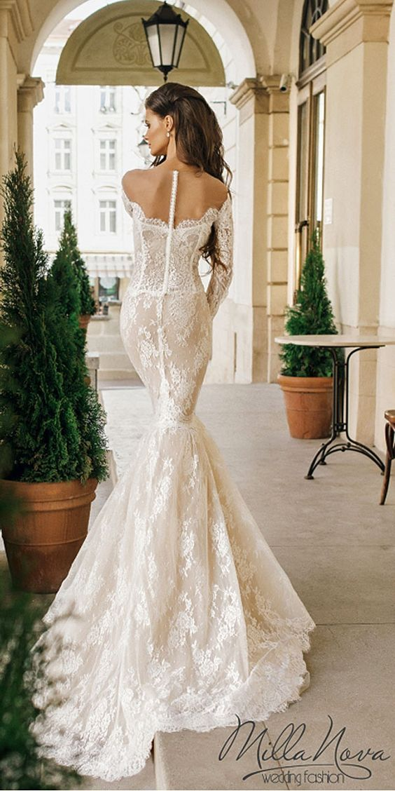 Lacey Mermaid Wedding Gowns for Your Second Time Around. #weddings #gowns #lace #mermaidgowns