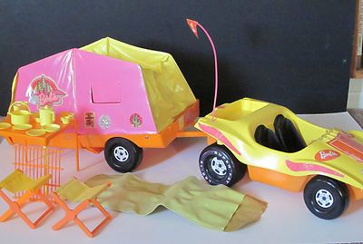 Vintage Barbie Dune Buggy, Pop Up Camper And Accessories Including Barbie Flag