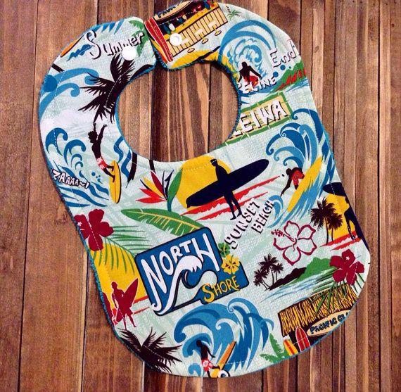 Hawaiian Surfer Baby Bib Birthday Party  by LePetiteBirdie on Etsy, $6.00