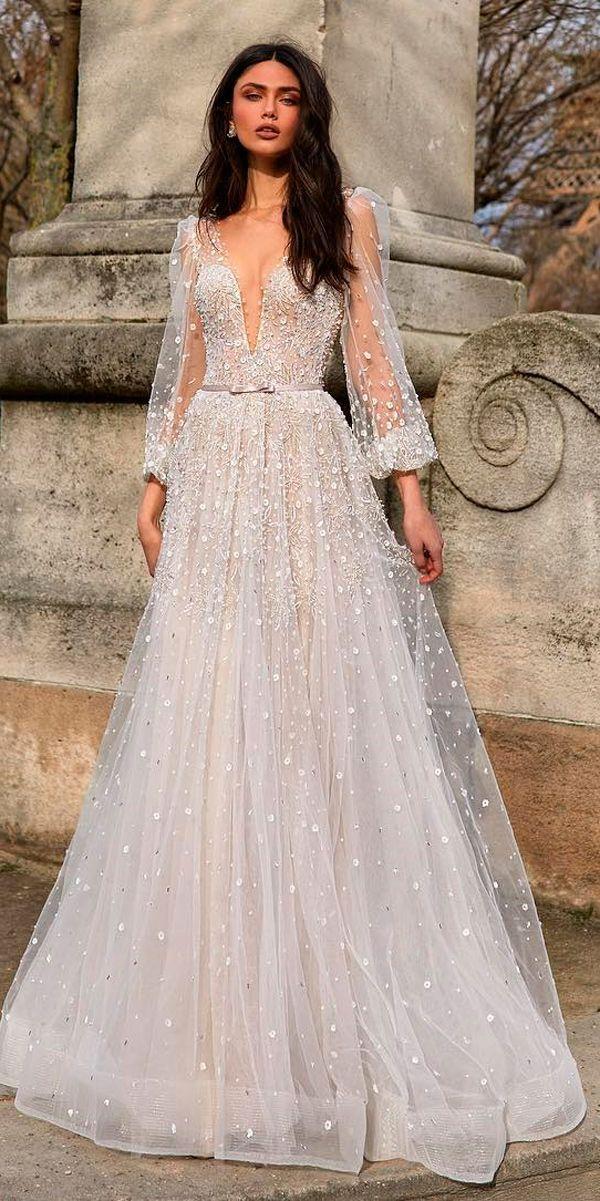 30 Revealing New Wedding Dresses 2019 A Line Deep Plunging V