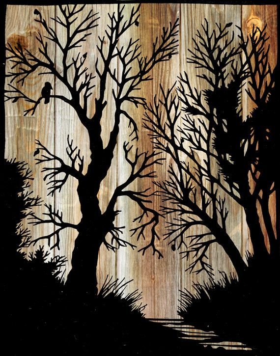 "Papercut Illustration ""Between the Branches"" Folk Art - Woodland Whimsical Silhouette Art - Woodgrain Vintage Fairy Tale Print. $25.00, via Etsy."