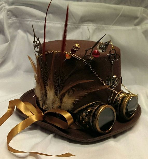 Steampunk Bespoke Victorian Goth Brown Wool Felt Top Hat Aviator Goggles Hat Pins Clocks Time Skeleton/ Wings/ Feathers/ Keys/ Festival