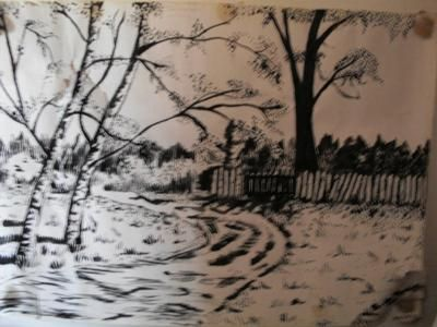 ink drawing landscape: To use different mediums in drawing/paintings, is an experience itself! In order to master this, I used calming music to calm me down, that's when my concentation