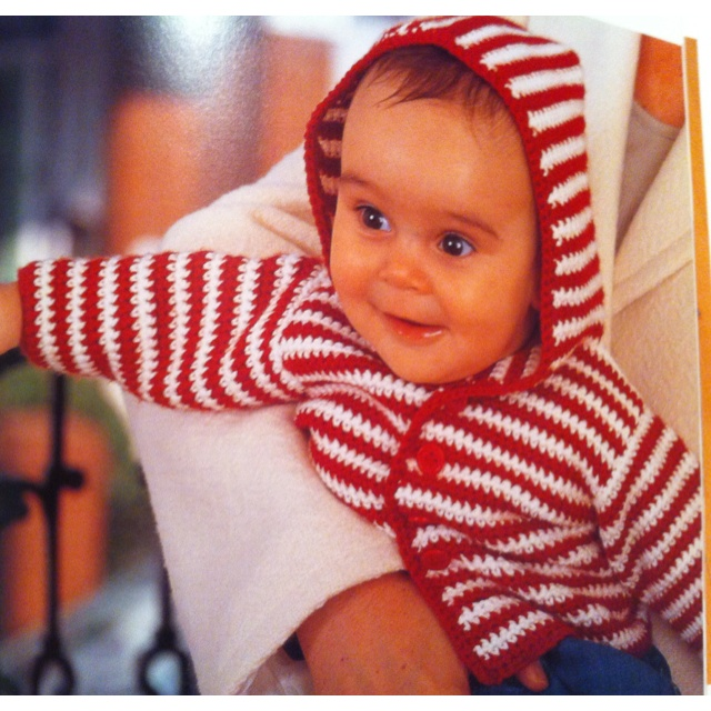 """Happy hoodie from """"cute crochet for tiny tots"""" by Helen Ardley"""