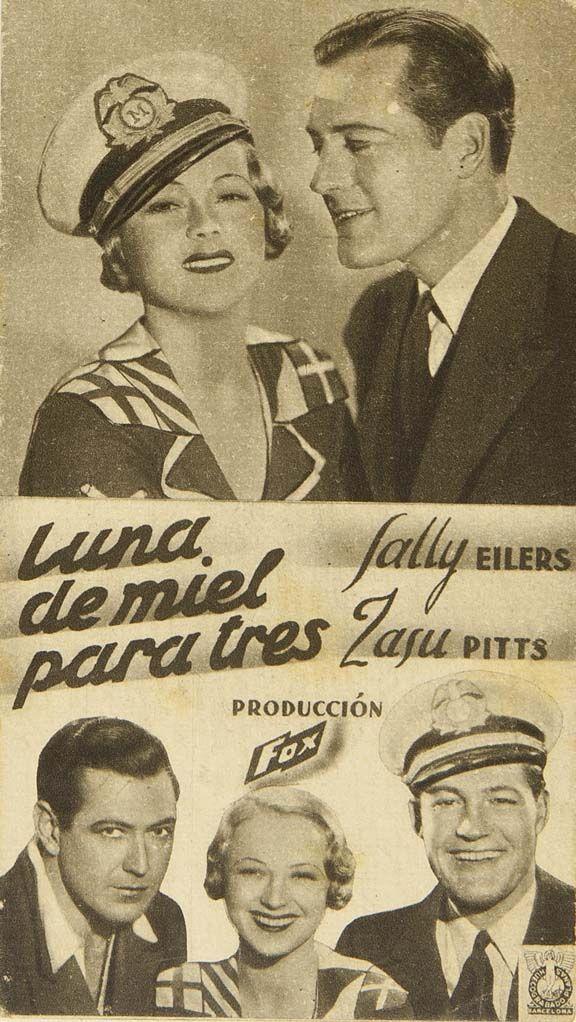 """Programa de mano de cine de la película """"Luna de miel para tres"""", estrenada en España en el año 1934"""