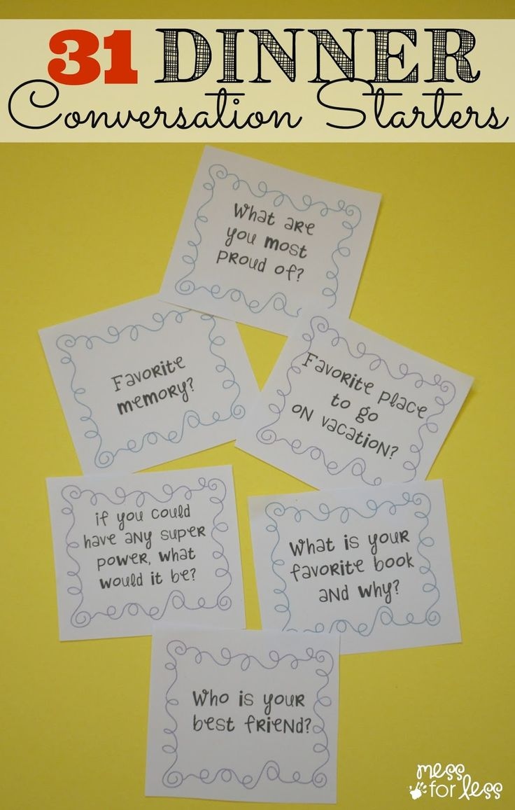 31 Dinner Conversation Starters - Get this free printable and use the questions and dinner time to make deeper connections with your kids. #sponsored #Saucesome