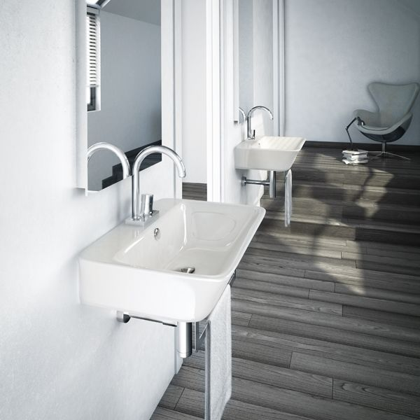 Lavabo design suspendu ou poser sur plan de toilette for Lavabo ceramique ou porcelaine