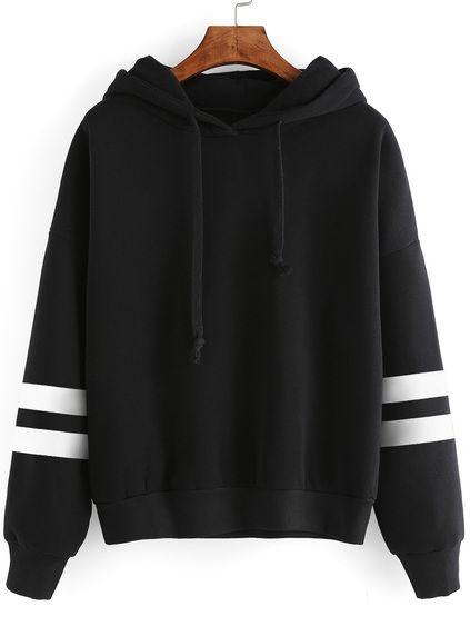 Black Drop Shoulder Varsity Striped Hooded Sweatshirt