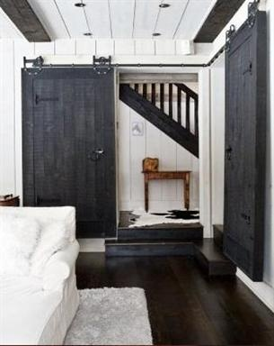 love these doors for a master suite or to the new master bath... some day.. love the plank ceiling too!