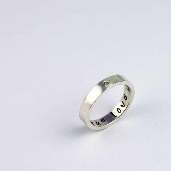 Purity Ring with a single Diamond - True Love Waits - Recycled Sterling Silver - Custom and Personalized on Etsy, $160.00