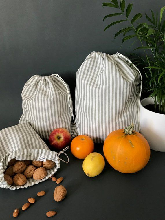 Zero Waste Produce Bags Striped Reusable