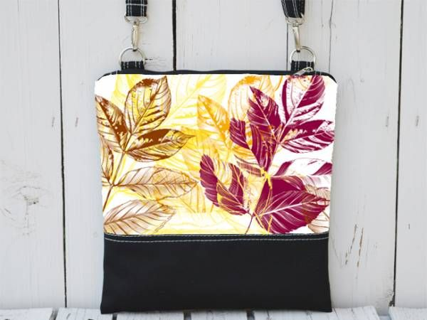 Black and Painted Canvas Pattern with Colorful Leaf