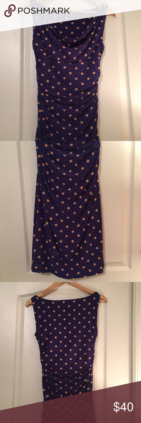 Ralph Lauren Polka Dot Dress Ralph Lauren jersey draped dress. Previously owned but in great condition. Perfect tight fit to show off figure for a night out! If you have any questions, please ask. :) Lauren Ralph Lauren Dresses Midi