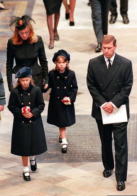 The Duke and Duchess of York with daughters Beatrice and Eugenie at the funeral of Princess Diana.